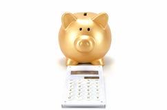 Piggy bank and a calculator Stock Photos