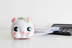 Piggy bank, calculator and statement Stock Photos