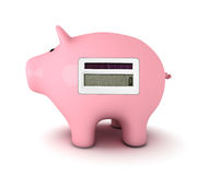 Piggy bank with calculator Stock Image