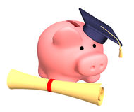 Piggy bank with cap and the diploma Royalty Free Stock Photography