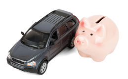 Piggy bank with car Stock Images