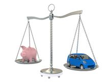 Piggy Bank and car on the scales. Isolated on white background Stock Images