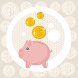 Piggy bank card. Stock Image
