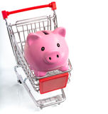 Piggy bank in cart Stock Photos