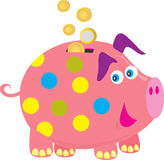 Piggy bank. A cartoon picture of coins falling into a pink piggy bank Stock Photography