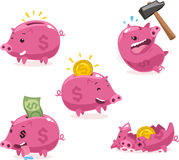 Piggy bank cartoon set with dollars and coins set 1 Royalty Free Stock Photo
