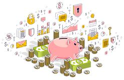 Piggy bank with cash money dollar stacks and coins piles isolated on white, personal savings concept. Isometric 3d vector finance. Illustration with icons royalty free illustration