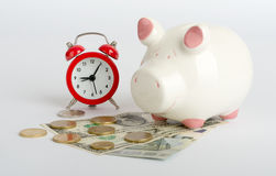 Piggy bank with cash Royalty Free Stock Photography