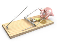 Piggy bank caugt in a mouse trap Stock Images