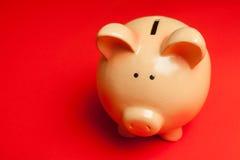 Piggy Bank. Ceramic Piggy Bank Savings on Red Background Stock Image