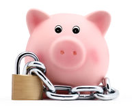 Piggy bank with chain and padlock isolated on white background Royalty Free Stock Photos