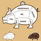 Piggy Bank Chart Stock Photography