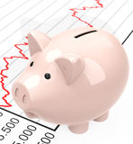 Piggy bank and chart Stock Photo