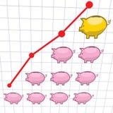 Piggy bank chart graph Stock Photo