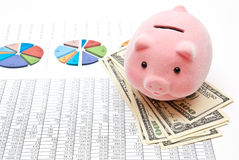 Piggy bank and charts Royalty Free Stock Photography