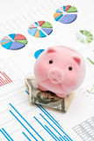 Piggy bank and charts Royalty Free Stock Photos