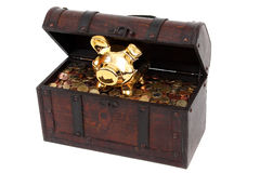 Piggy bank and chest with coins Stock Images