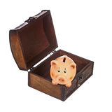Piggy bank in chest Stock Photography