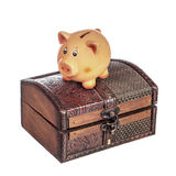 Piggy bank on chest Royalty Free Stock Photos