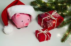 Piggy bank Christmas for your big buy gifts Stock Images