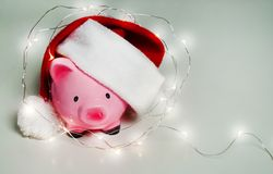 Piggy bank Christmas for your big buy gifts Royalty Free Stock Photos