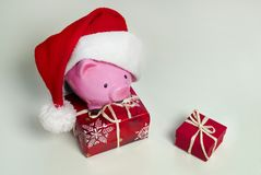 Piggy bank Christmas for your big buy gifts Royalty Free Stock Image
