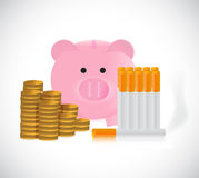 Piggy bank and cigarettes illustration Royalty Free Stock Photography