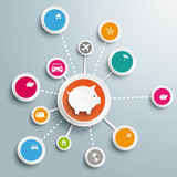 Piggy Bank Circles Wishes Network Stock Images