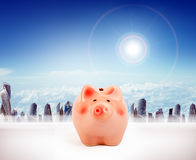 Piggy bank with cityscape. Big piggy bank with cityscape, business concept Royalty Free Stock Image