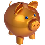Piggy bank. Classic version (Hi-Res). Shiny orange piggy bank with blue eyes. 3D render. Isolated on white Stock Image