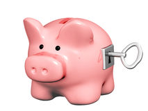 Piggy bank closed on the lock Royalty Free Stock Photo
