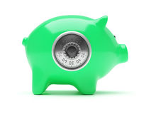 Piggy bank with code lock on white Stock Photography
