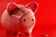 Piggy bank and coin Royalty Free Stock Photos