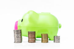 Piggy bank  and coin arranged in stack Stock Photo