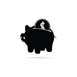 Piggy bank with coin black  Royalty Free Stock Images