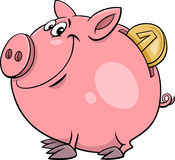 Piggy bank with coin cartoon. Cartoon Illustration of Cute Piggy Bank with Gold Coin Stock Photo