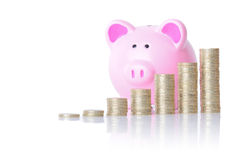 Piggy bank coin chart Stock Photos