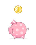 Piggy bank and coin Stock Photography
