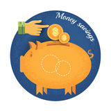 Piggy bank with coin and hand pointer Vintage retro style money saving icon on blue circle background Stock Photo