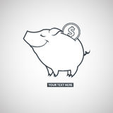 Piggy bank with a coin icon on a gray scale gradient background Royalty Free Stock Photo