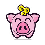 Piggy bank with coin  illustration. Piggy bank cartoon and coin with happy expression Royalty Free Stock Photos