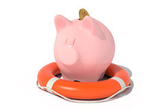 Piggy bank with a coin in the lifebuoy. Stock Photography