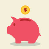 Piggy bank and coin Stock Images