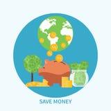 Piggy bank and coin, saving money concept Stock Photo