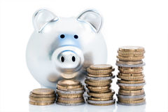 Piggy bank and coin stacks Royalty Free Stock Photos