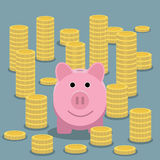 Piggy bank and coin stacks Stock Image