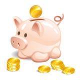 Piggy bank with a coin. Vector illustration. Royalty Free Stock Photos
