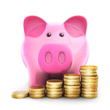 Piggy bank and coinns Stock Photos