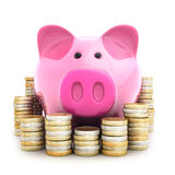Piggy bank and coinns Royalty Free Stock Image