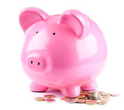 Piggy bank and coins stock images